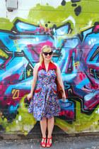 blue Trashy Diva dress - red t strap miz moo heels
