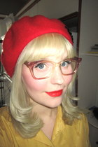 red wool beret Tara Starlet hat - pink eyeglasses thrifted vintage accessories