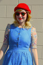 Ruby-red-wool-h-m-hat-sky-blue-pinafore-jcrew-dress