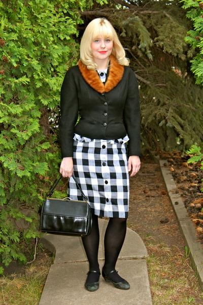 black gingham peplum vintage dress - ivory leather vintage bag