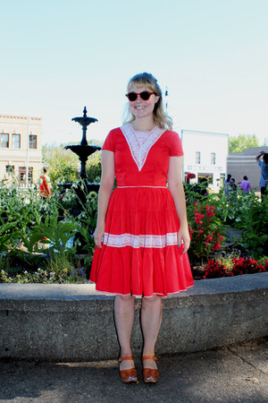 red vintage dress - peach Swedish Hasbeens sandals