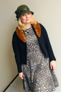 Black-felt-vintage-jacket-tan-leopard-print-zara-dress