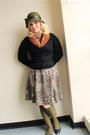 Black-felt-vintage-jacket-tan-leopard-print-zara-dress