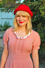 Bubble-gum-vintage-dress-red-h-m-hat-black-vintage-loafers-loafers