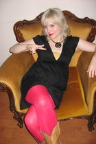 cowboy Frye boots - black Forever 21 dress - ruby red H&M tights