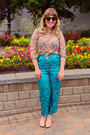 Bubble-gum-floral-vintage-blouse-sky-blue-tapestry-silk-vintage-pants