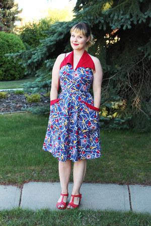 blue Trashy Diva dress - red leather miz moo heels