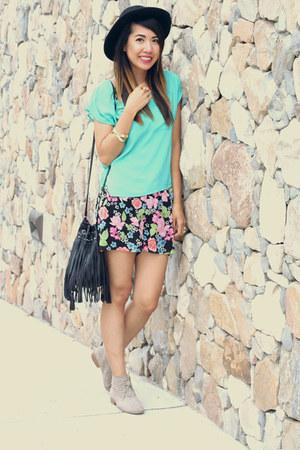 H&M bag - Target boots - Forever 21 hat - H&M shorts - Goodwill bracelet