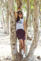 purple pencil H&M skirt - white Converse shoes - silver Mellow Orange t-shirt
