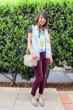 denim H&M vest - velvet nastygal jeans - Forever21 shirt - Goodwill bag