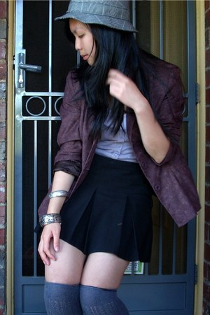 dark brown vintage jacket - charcoal gray Dotti socks - black Bloch skirt - ligh