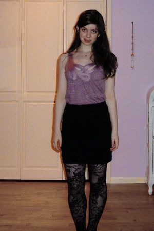 black Lush from Nordstroms BP skirt - purple Anthropologie shirt - black calvin