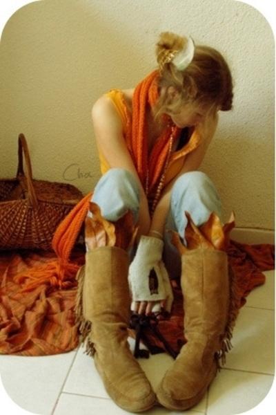 my sisters earrings - Jennifer scarf - c&a top - Ralph Lauren jeans - boots boot