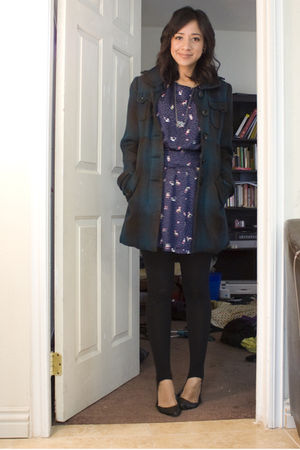 purple Forever 21 dress - blue BB Dakota coat - silver UO necklace - black Targe