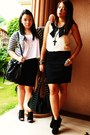 Black-forever21-sandals-black-forever21-skirt-white-cotton-on-top-periwink
