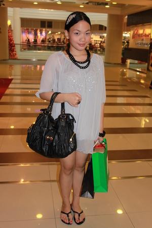 C & K purse - Thrift Store dress - Target accessories