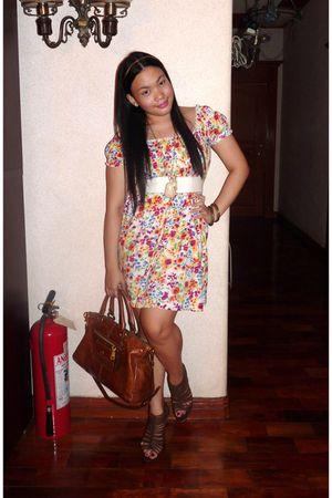 white H&M dress - brown Prada Vitello Shine Bag - Zara shoes - white H&M belt -