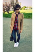 camel H&M blazer - white Converse shoes - navy H&M jeans - red Topshop shirt
