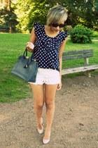 cream Boohoo heels - navy Boohoo bag - eggshell Zara shorts