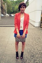 red Zara blazer - blue H&M shorts - white H&M top - black Bata heels