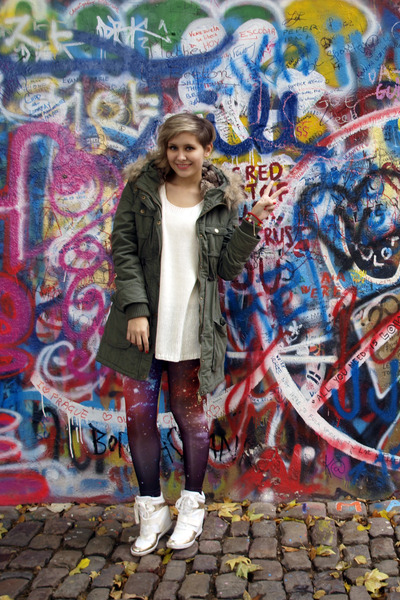 Ann Christine jacket - H&M sweater - romwe leggings - Boohoo wedges