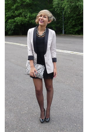eggshell H&M blazer - black H&M dress - black H&M bag - black Zara heels