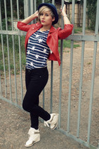 navy H&M hat - black H&M jeans - red New Yorker jacket - white Boohoo wedges