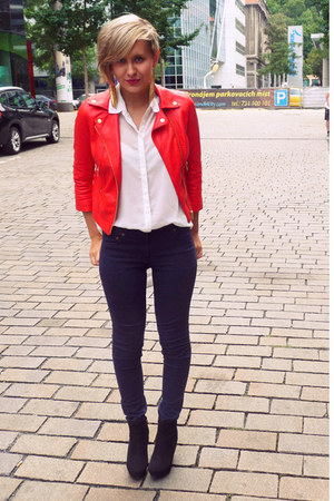 red New Yorker jacket - white GINA TRICOT blouse - navy H&amp;M pants