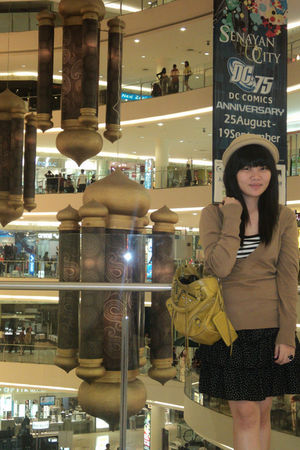 beige hat - brown H&M top - black Thrift Store skirt - gold balenciaga - beige s