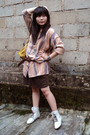 Brown-my-mom-top-brown-unbranded-skirt-beige-boots-yellow-balenciaga-bag-