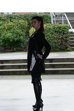 black Rampage coat - black Nordstrom boots - black Forever21 leggings