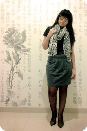 Mango blouse - unknown brand scarf - Gaudi skirt - unknown stockings - Guess sho