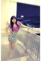 pink Mango t-shirt - blue cotton on skirt - beige Guess socks