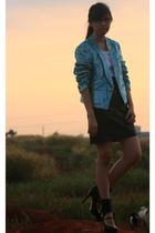 thrifted blazer - thirfted skirt - brandless shirt - Bebe shoes