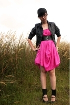 black studded Zara belt - black cut-out booties Bebe shoes - pink Biasa dress