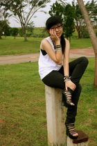 black Forever 21 DIY accessories - white no brand shirt - black Mango pants - bl