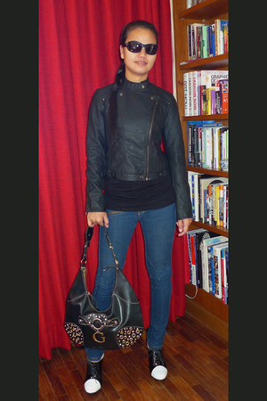 Forever21 jacket - Mango jeans - guest purse - Terranova blouse - Armani Exchang