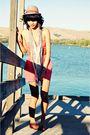 Pink-forever21-dress-beige-forever21-scarf-beige-forever21-hat-gold-foreve