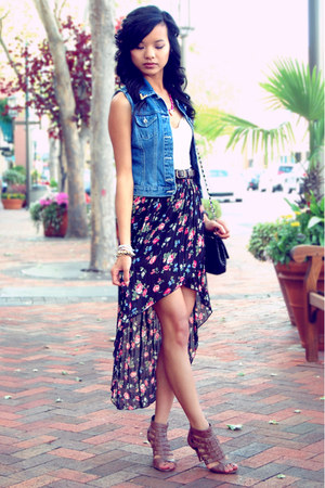 blue Thrift DIY vest - black thrift bag - cream lace Urban Outfitters top