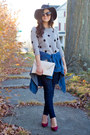 Navy-dark-skinny-j-brand-jeans-heather-gray-polka-dot-forever-21-sweater
