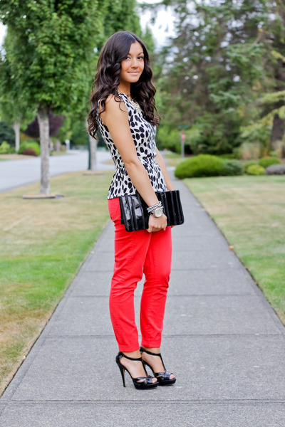 white spotted peplum H&M top - black patent Steve Madden heels