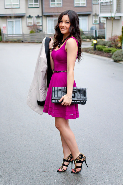 hot pink Guess dress - white studio H&M blazer - black leopard Guess heels