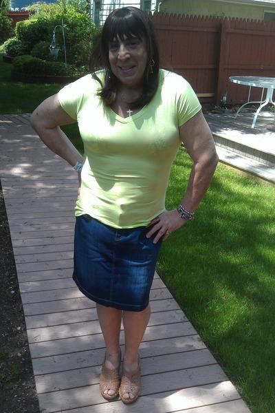 chartreuse Ana shirt - blue denim no name skirt - tan Barefoot Tess wedges