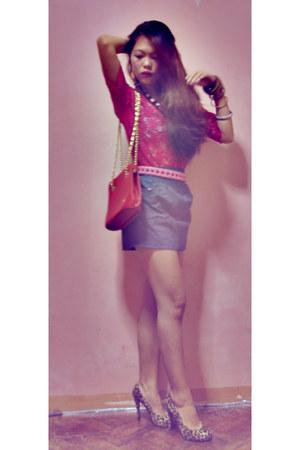 WAGW belt - WAGW top - WAGW skirt - So Fab heels