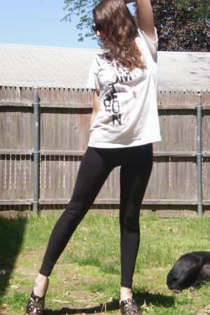 black Forever 21 leggings - shirt - shoes