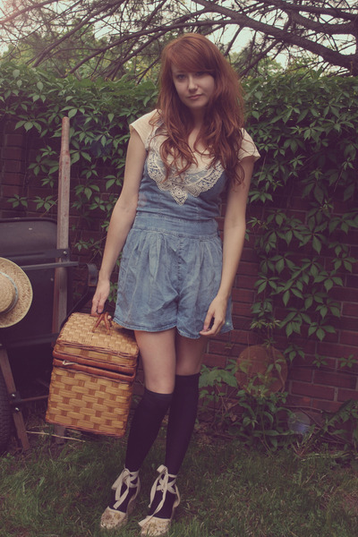 beige thrifted shoes - pink the loft shirt - blue Zara shorts