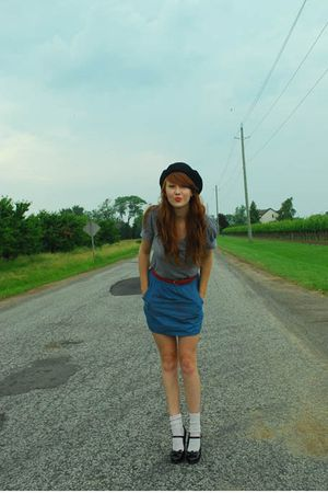 blue Urban Outfitters shirt - blue Forever 21 skirt - white Walmart socks - blac