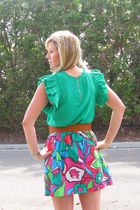 green Forever21 blouse - red tobedetermined skirt