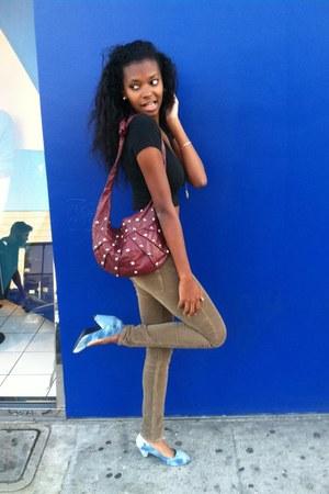 brown H&M pants - crimson Urban Outfitters bag - black Brandy Melville USA top