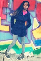 navy coat - green doc martens boots - hot pink obey t-shirt - heather gray pants